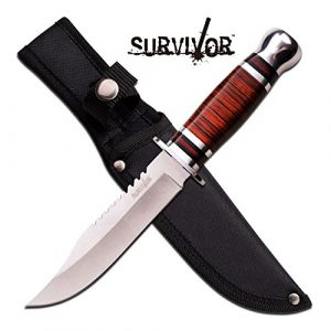 Snake Eye Tactical  1 Survival Cherry Wood Hunting Bowie Knife 10.5 Inch Fixed Blade with Sheath Jwd28