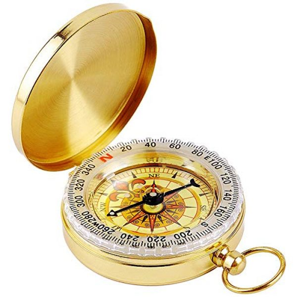 Laupha Survival Compass 1 Laupha Survival Gear Compass Pocket Military Antique Compass for Kids Accurate Waterproof for Hiking Outdoor Camping Motoring Boating Backpacking Compass Tool