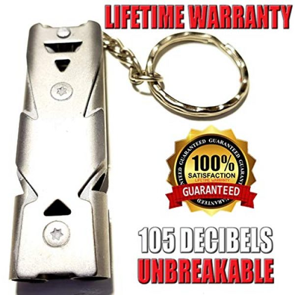 FUTURESTEPS Survival Whistle 1 FUTURESTEPS Emergency EDC Whistle | Survival Whistle | Light Air Flow Needed for High Pitched Sound | Very Loud Whistle 105 DECIBELS | Light Gray Titanium | ONE Piece
