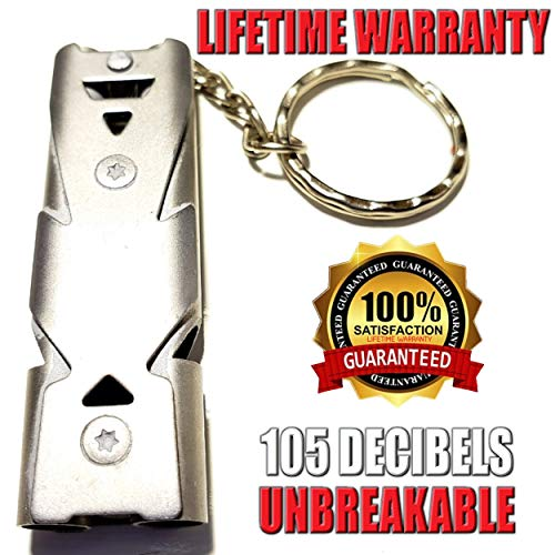 FUTURESTEPS  1 FUTURESTEPS Emergency EDC Whistle | Survival Whistle | Light Air Flow Needed for High Pitched Sound | Very Loud Whistle 105 DECIBELS | Light Gray Titanium | ONE Piece