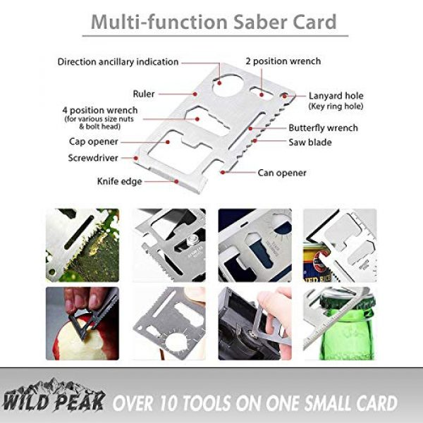 Wild Peak Survival Kit 3 Wild Peak Prepare-1 Survival Tool Kit with Axe Multi-Tool Card and a Thin Multi-Tool Card for Camping Gear, Hiking, Climbing, Fishing and Hunting