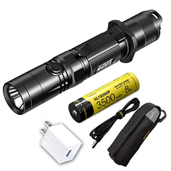 Nitecore Survival Flashlight 1 Nitecore MH12GTS 1800 Lumen Long Throw USB Rechargeable Flashlight with High Performance Battery and LumenTac Adapter