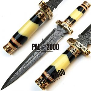 PAL 2000 KNIVES  1 PAL 2000 KNIVES Handmade Damascus Hunting Knife 16 Inches Buffalo Horn and Camel Bone Handle with Sheath 9532