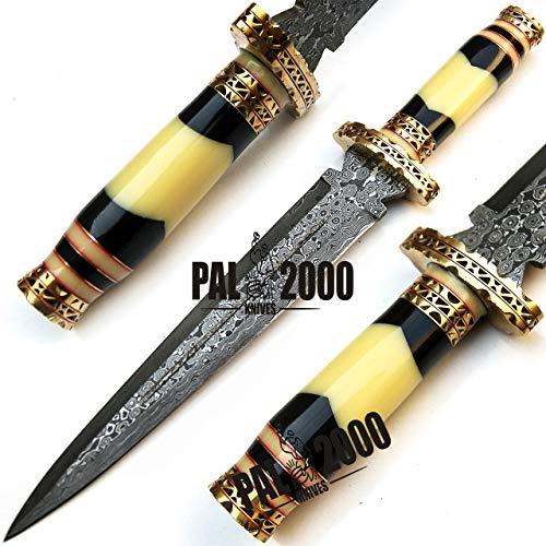 PAL 2000 KNIVES  1 PAL 2000 KNIVES Handmade Damascus Hunting Knife 16 Inches Buffalo Horn and Camel Bone Handle with Sheath 9532