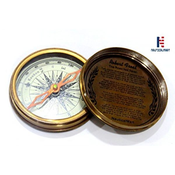 "NauticalMart Survival Compass 1 NauticalMart Vintage Nautical Brass Compass 3"" Robert Frost Poem Engraved Antique Compass (Marine Brass Compass)"