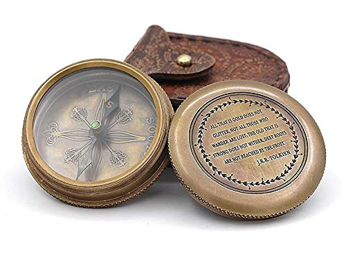 Roorkee Instruments India Survival Compass 1 Roorkee Vintage Brass Compass with Leather Case/J.R.R. Tolkien Directional Magnetic Compass for Navigation/Tolkien Compass for Camping, Hiking, Touring/Gift for Him