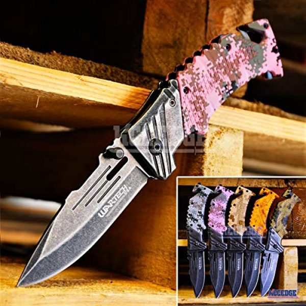 KCCEDGE BEST CUTLERY SOURCE Folding Survival Knife 1 KCCEDGE BEST CUTLERY SOURCE Pocket Knife Camping Accessories Survival Kit Razor Sharp Edge Camouflage Folding Knife with Glass Breaker Cord Cutter Camping Gear 56843