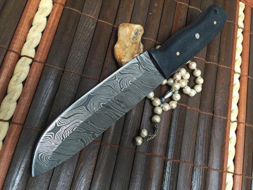 Perkin  3 Perkin - Custom Handmade Damascus Hunting Knife with Sheath - Survival Knife