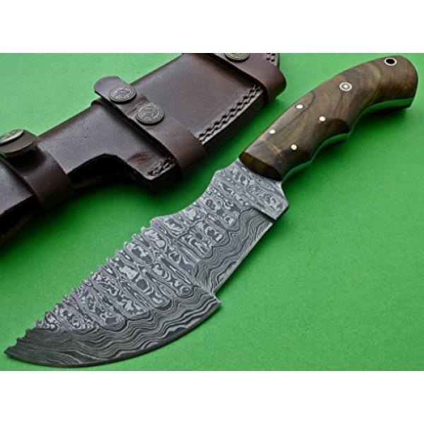Poshland Knives Fixed Blade Survival Knife 1 Poshland Knives TRH-001, Custom Handmade Damascus Steel Tracker Knife - Exotic Wood Handle