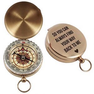 Aurelie & George Survival Compass 1 Aurelie & George Engraved Compass - Custom Engagement, Anniversary, Wedding Gift for Him - Gift for Husband, Fiance, or Boyfriend - Working Compass in a Gift Box