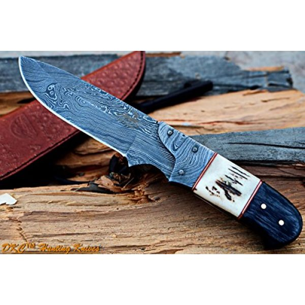 """DKC Knives Fixed Blade Survival Knife 1 DKC Knives DKC-715 Swagger Stag Horn Hunting Handmade Knife Fixed Blade 8.5 oz 9"""" Long 4"""" Blade"""