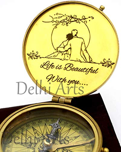 Delhi Arts  1 Delhi Arts i Carry Your Heart with me Poem Engraved Compass