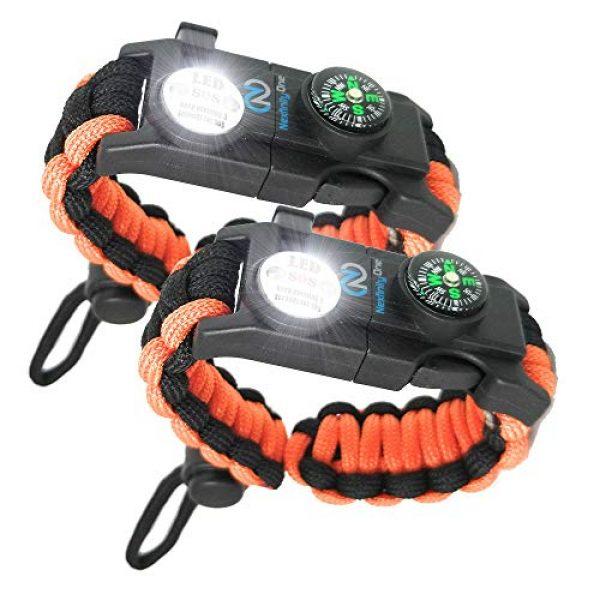 Nexfinity One Survival Paracord Bracelet 1 Nexfinity One Survival Paracord Bracelet - Tactical Emergency Gear Kit with SOS LED Light, Knife, 550 Grade, Adjustable, Multitools, Fire Starter, Compass, and Whistle - Set of 2