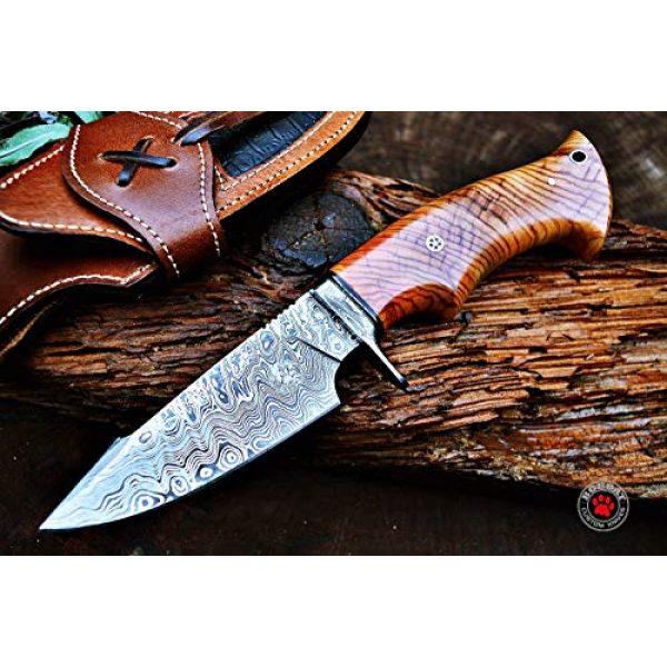 Bobcat Knives Fixed Blade Survival Knife 1 Bobcat Knives Custom Handmade Hunting Knife Damascus Steel Blade Olive Wood Handle 10'' Overall