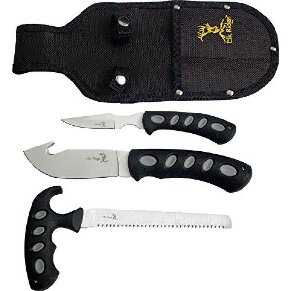 Elk Ridge Fixed Blade Survival Knife 1 Elk Ridge - Outdoors 3-PC Hunting Knife Set - Satin Finish Stainless Steel Blades, Black Nylon Fiber Handles, Includes Combo Sheath - Hunting, Camping, Survival - ER-252