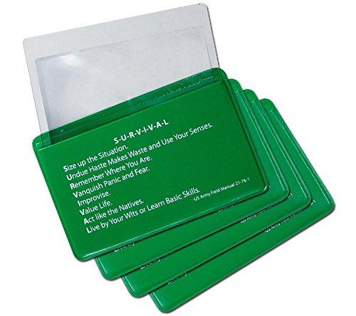 5col Survival Supply  1 5col Survival Supply Fresnel Lens 4-Pack Credit Card Size Pocket Magnifier & Firestarter