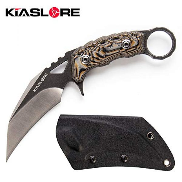KIASLORE Fixed Blade Survival Knife 1 KIASLORE Ghostly Claw Outdoor Hunting Tactical Fixed Blade Knife D2 Steel Camping EDC Tools Martial Claws Knife with Sheath