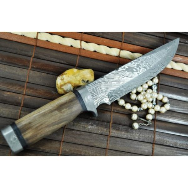 Perkin Knives Fixed Blade Survival Knife 3 Custom Damascus Hunting Knife - Beautiful Bowie Knife -