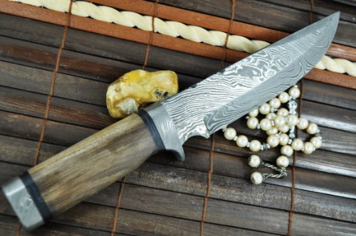 Perkin Knives  3 Custom Damascus Hunting Knife - Beautiful Bowie Knife -
