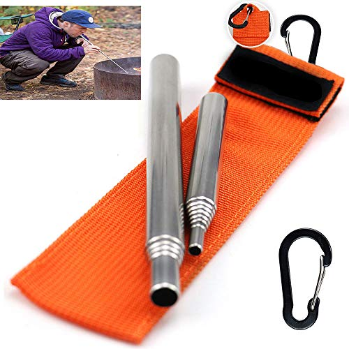 Dingjiang Survival Fire Starter 1 Dingjiang 2 Size Pack Pocket-Size Fire Bellows Collapsible Fire Blower Pipe Builds Campfire Whit Bag