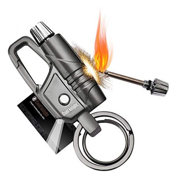 Cool knight Survival Keychain 1 COOLKNIGHT Keychain Matchstick Fire Starter Great Kerosene Refillable Keychain Lighter/Comes with Lighting Tool-Black