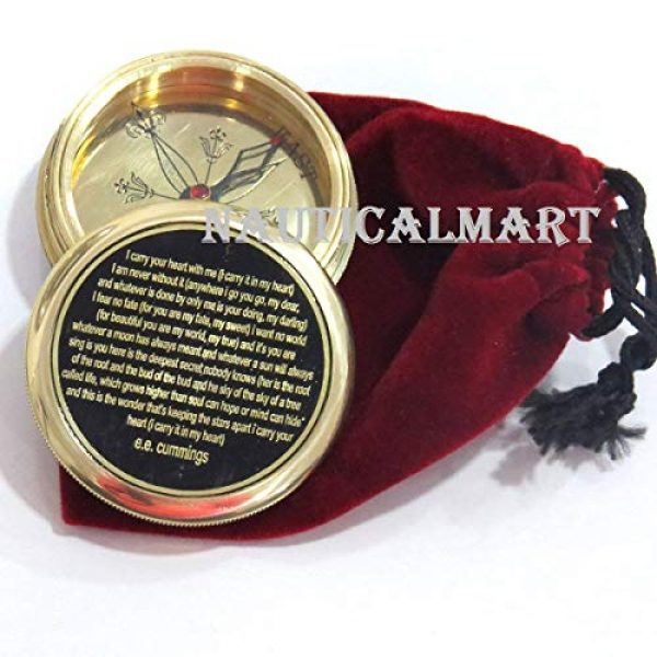 NauticalMart Survival Compass 1 I Carry Your Heart with me Poem Engraved Compass - Valentines Gift - Nautical Love Compass - Love Gift - Unusual Gift for Husband/Wife -him/her - Anniversary - Gift Compass - Birthday Gift