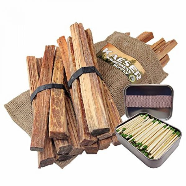 Kaeser Wilderness Supply Survival Fire Starter 1 Kaeser Wilderness Supply 3lb Fatwood Sticks Hand Cut in USA Strike Almost Anywhere Matches in Tin Can