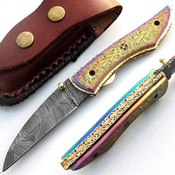 PAL 2000 KNIVES Folding Survival Knife 1 PAL 2000 KNIVES - 9515-SJRJ Titanium Handle - Best Handmade Damascus Pocket Knife - Beautiful Folding Knife with Sheath