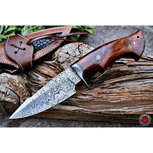 Bobcat Knives Fixed Blade Survival Knife 1 Bobcat Knives Custom Handmade Hunting Knife Bowie Knife Damascus Steel Survival Knife EDC 10'' Overall Walnut Wood with Sheath