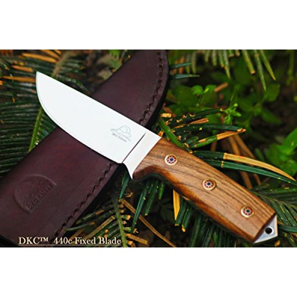 """DKC Knives Fixed Blade Survival Knife 1 Sale (5 9/18) DKC-73-440c Survival 1 440c Stainless Steel Hunting Knife 8"""" Long 4"""" Blade 5.4 oz ! Walnut Wood Handle"""