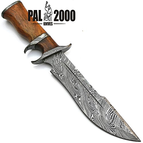 PAL 2000 KNIVES  7 Sub Hilt Custom Handmade Damascus Steel Hunting Bowie Knife -Sword/Chef Kitchen Knife/Dagger/Full Tang/Skinner/Axe/Billet/Folding Knife/Kukri/knives accessories/survival/Camping With Sheath 9155
