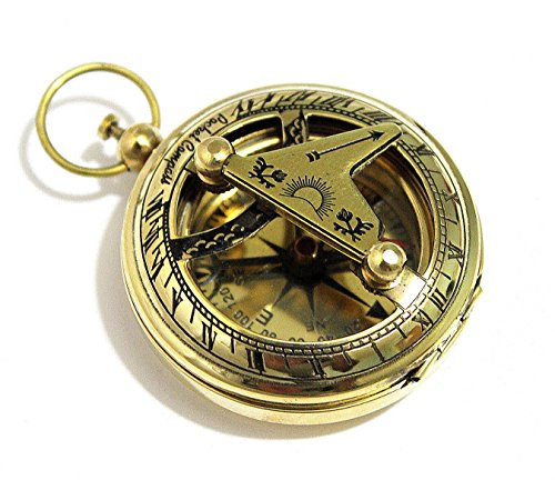 THORINSTRUMENTS Survival Compass 1 THORINSTRUMENTS (with device) Brass Push Button Direction Sundial Compass - Pocket Sundial Compass