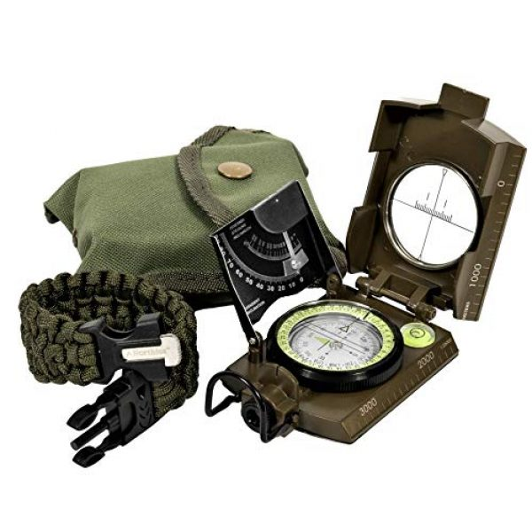 Northies Survival Compass 1 Northies Combo Pack Military Lensatic Sighting Compass and Paracord Survival Bracelet, Fire Starter, Whistle, Aluminum Alloy, Waterproof, Carrying Bag, Tactical Outdoor Gear for Camping and Hiking