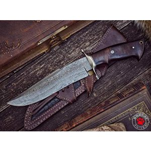Bobcat Knives Official Fixed Blade Survival Knife 1 Bobcat Knives - 13-inch Overall, Raptor Hunting Bowie Knife - Full Tang Fixed Blade Damascus Steel - Walnut Wood Handle with Leather Sheath