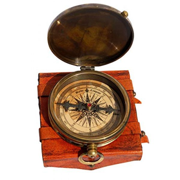 MAH Survival Compass 1 MAH ''Robert Frost Poem'' Engraved Antiquated Finish Brass Compass with Case. C-3240