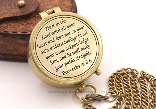 Roorkee Instruments India  1 Joshua 1:9 /Jeremiah 29 11/Proverbs 3: 5-16/Confirmation gift/God is with you/Be Strong And Courageous/Trust In the Lord/Engraved Compass/My Hero/Always Come Home/Keep Him Safe