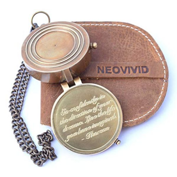 NEOVIVID Survival Compass 1 NEOVIVID Thoreau's Go Confidently Quote Engraved Compass with Stamped Leather case, Graduation Day Gifts