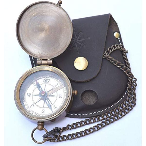 NEOVIVID Survival Compass 1 NEOVIVID Engravable Compass, Pocket Compass, Brass Compass with Leather Carry Case, Pirates Compass, Gift Compass, Camping Compass