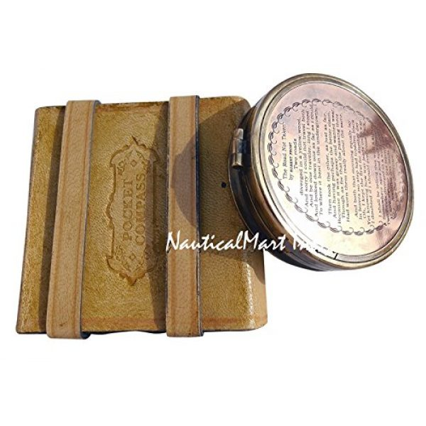 NauticalMart Survival Compass 1 NauticalMart Brass Compass Robert Frost Poem Engraved Embossed Needle with Leather Case