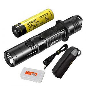 Nitecore Survival Flashlight 1 Nitecore MH12GTS 1800 Lumen Long Throw USB Rechargeable Tactical Flashlight with High Performance Battery & LumenTac Organizer