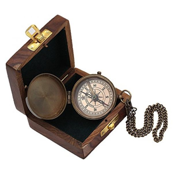 Roorkee Instruments India Survival Compass 1 Roorkee Instruments India Engravable Brass Magnetic Compass with Wood Case