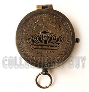 collectiblesBuy  1 collectiblesBuy Brass Compass Vintage Finish Kelvin Hughes 100 Year Calendar Compasses lid Compass