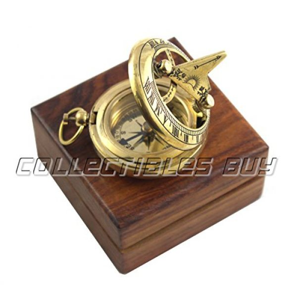 collectiblesBuy Survival Compass 1 Marine Sundial Compass with Nautical Solid Wooden Box Vintage Brass Ship Navigate Device Nautical Gift Collection