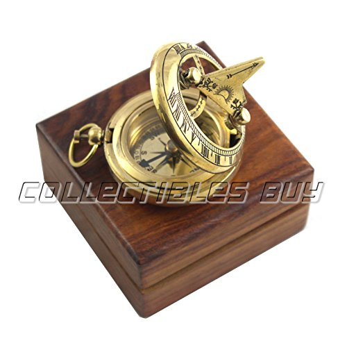 collectiblesBuy  1 Marine Sundial Compass with Nautical Solid Wooden Box Vintage Brass Ship Navigate Device Nautical Gift Collection