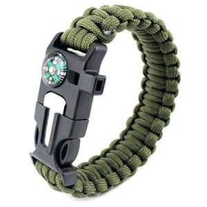 Brand X Supplies Survival Paracord Bracelet 1 Paracord Survival Bracelet. Hiking Multi Tool, Camp Fire Starter, Emergency Whistle, Compass for Hiking, Camp Fire Starter 5-in1 Set.