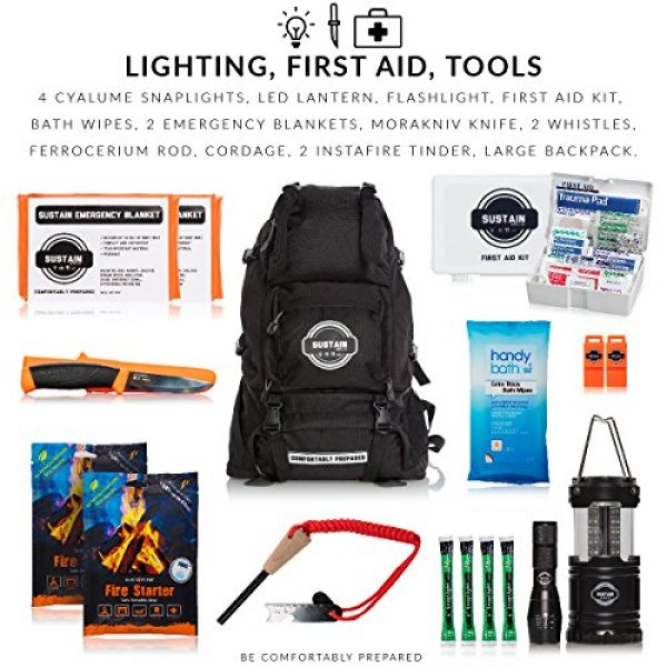 Sustain Supply Co. Survival Kit 3 Sustain Supply Co. Premium Emergency Survival Bag/Kit - Be Equipped with 72 Hours of Disaster Preparedness Supplies for 2 People, Comfort2