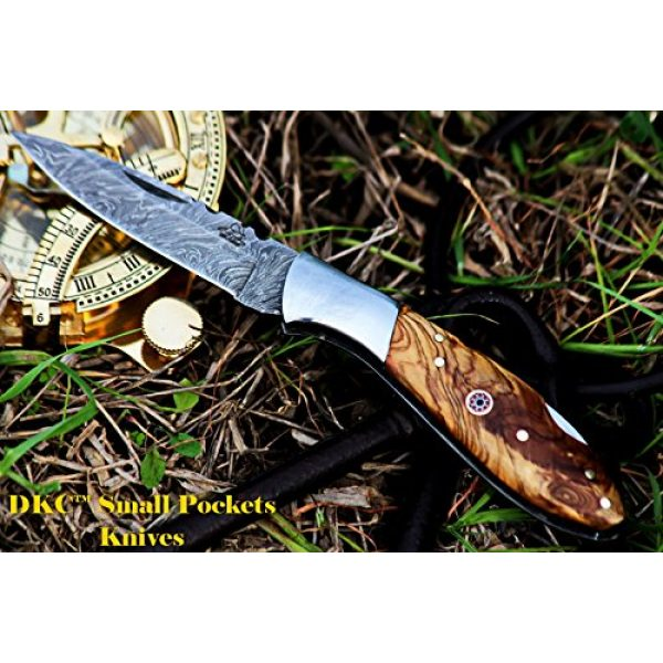 """DKC Knives Folding Survival Knife 2 DKC Knives DKC-58-LJ-OW Little Jay Damascus Folding Pocket Knife Olive Wood Handle 4"""" Folded 7"""" Long 4.7oz oz High Class Looks Feels Great in Your Hand and Pocket Hand Made LJ-Series"""