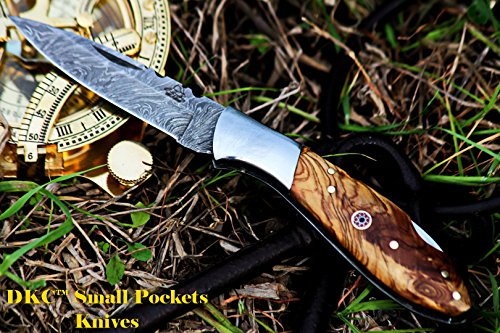 """DKC Knives  2 DKC Knives DKC-58-LJ-OW Little Jay Damascus Folding Pocket Knife Olive Wood Handle 4"""" Folded 7"""" Long 4.7oz oz High Class Looks Feels Great in Your Hand and Pocket Hand Made LJ-Series"""