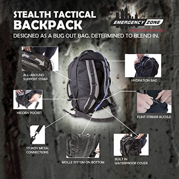 Emergency Zone Survival Kit 3 Emergency Zone Stealth Tactical 2 Person Bug-Out Bag |3 Day Go-Bag with Waterproof Covering & 2 Person Dome Tent & Hydration Bladder