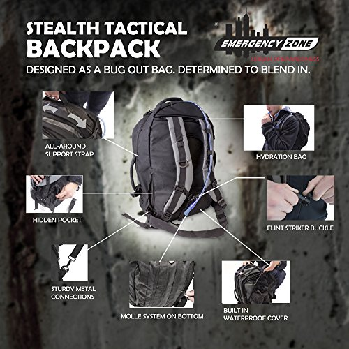 Emergency Zone  3 Emergency Zone Stealth Tactical 2 Person Bug-Out Bag |3 Day Go-Bag with Waterproof Covering & 2 Person Dome Tent & Hydration Bladder